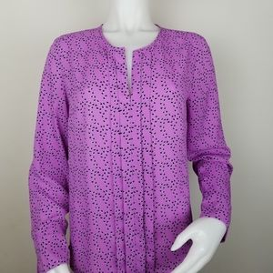 Banana Republic S Purple Pleated Front Blouse
